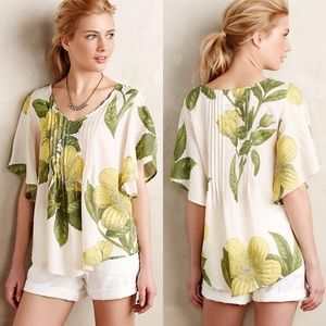 Anthro Maeve Yellow Floral Fluttered Maya Shirt